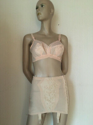 Vintage Bodice Suspender Belt Girdle from Naturana 4 Nude Lace Size 80