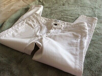 ladies calvin klein white jeans size 12 stretchy skinny ankle grezer used