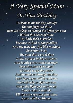 Special Mum On Your Birthday Memorial Graveside Poem Card & Ground Stake F285