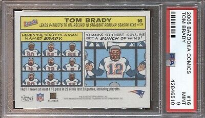 Tom Brady Psa 9 2005 Topps Bazooka Comics #16 New England Patriots Mint