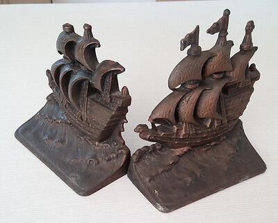 Sailing Ship Vintage Pair of GALLEON Cast Nautical Bookends  Boat Maritime