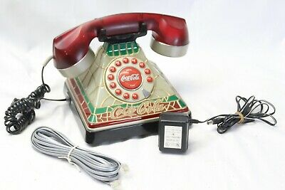 Vintage Stained Glass Look Coca Cola Coke Desk Phone Telephone Guaranteed