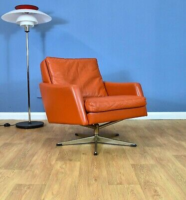 Mid Century Retro Vintage Danish Tan Leather Swivel Lounge Arm Chair 1960s 70s