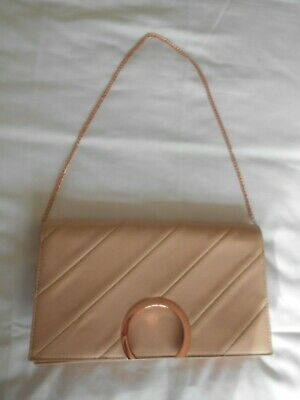 Beautiful Nude Large Clutch / Evening Bag With Rose Gold Chain Handle!!!