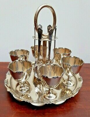 c1910 Silver Plated 6 Egg Cup Breakfast Set on Stand J.Dixon Spoons