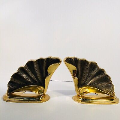 CROWNING TOUCH COLLECTION BRASS SHELL Fan DESIGN PAIR OF BOOK ENDS Vintage Used