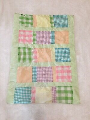 Vintage Small Baby Blanket Multi-Color Gingham Square Patches