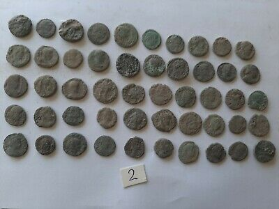 LOT OF 50 ANCIENT ROMAN BRONZE  COINS FOR CLEANING INTACT No 2