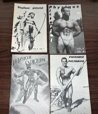 Physique Pictorial Magazine, 1958, Volume 8, Lot of all 4 Issues.