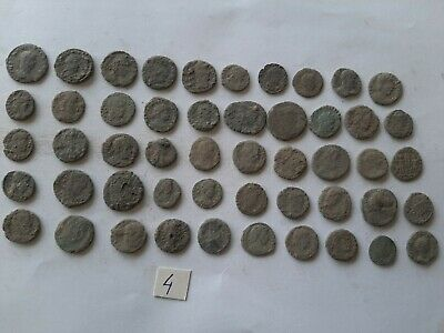 LOT OF 50 ANCIENT ROMAN BRONZE  COINS FOR CLEANING INTACT  No 4