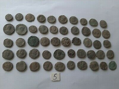 LOT OF 50 ANCIENT ROMAN BRONZE  COINS FOR CLEANING INTACT  No 5