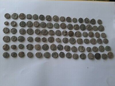 LOT OF 90 ANCIENT ROMAN BRONZE  COINS FOR CLEANING Ae 4  INTACT