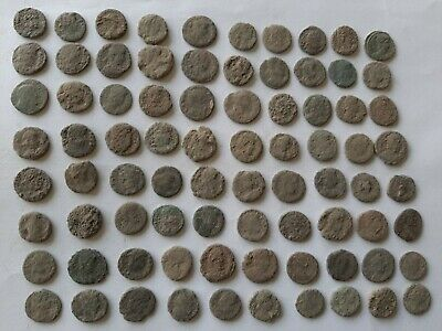LOT OF 80 ANCIENT ROMAN BRONZE  COINS FOR CLEANING Ae 4  INTACT