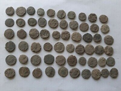 LOT OF 60 ANCIENT ROMAN BRONZE  COINS FOR CLEANING Ae 4  INTACT
