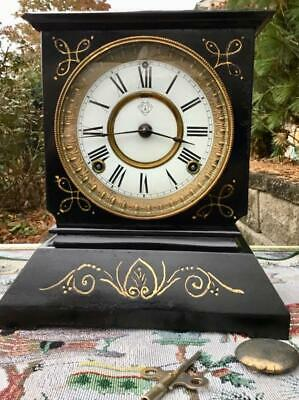 Ansonia Mantel Clock 8 Day time and Strike Running Well