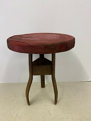 Vintage Antique Primitive Three Leg Milking Stool Steel and Wood