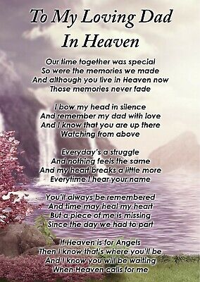 To A Loving Dad In Heaven Memorial Graveside Poem Card & Free Ground Stake F381