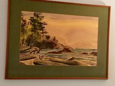 Gorgeous Vintage Watercolor Painting Beach Scene, Seascape, Signed J. Kelly