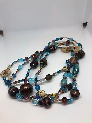 "Antique Chinese Venetian hand-painted Trade Bead  necklace Very Long 28""long"