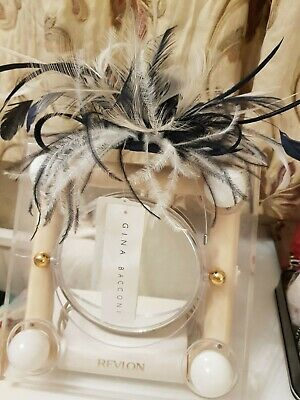 Gina Bacconi Facinator/  New black  white  wired headband beads feathers