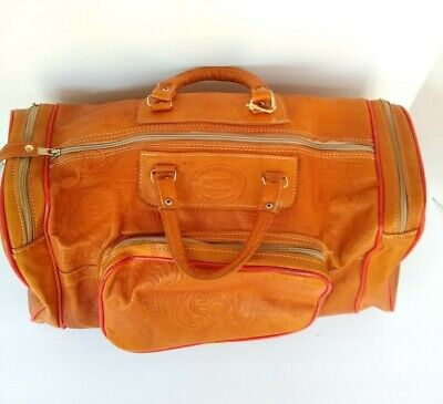 """Vintage Leather Hand Tooled Carry On Duffel """"Nanawa"""" Paraguay"""