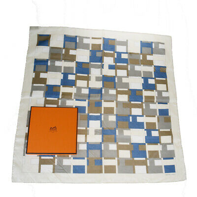 Auth Hermes Silk Cotton Handkerchief Blue,Ivory 07FA569