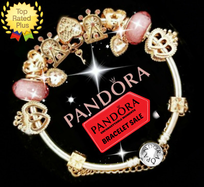 Authentic Pandora Charm Bracelet Silver Rose Gold Love with European Charm New