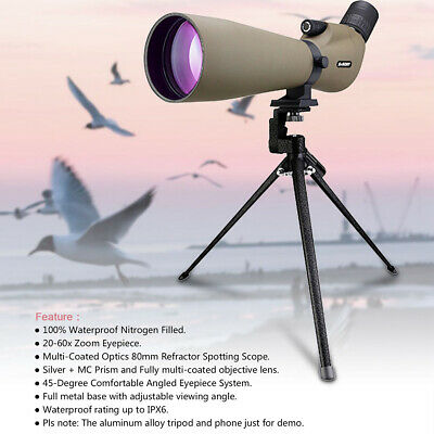 "Spotting Scope SVBONY SV401 45"" MC 20-60x80 Waterproof-IPX6 FOR Bird watching AU"