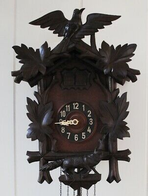 Antique Black Forest Cuckoo Quail Clock - Fox & Bird - Runs & Looks Great  NICE