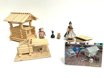 Handcrafted Swedish Wooden Art Crafts Village With Figures Signed And Dated