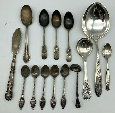 14pc Mixed Lot Antique Vintage Sterling Silver Flatware Silverware 333.6 grams