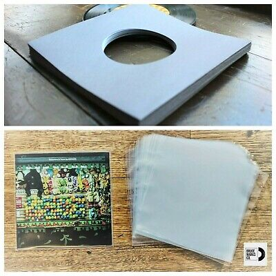 90 RECORD SLEEVES FOR 7″ VINYL - MAUVE PREMIUM GSM & CLEAR OUTERS FOR 45RPM EPs