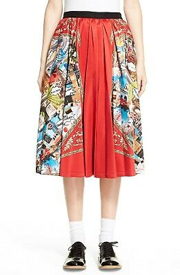 Tricot Comme Des Garcons Red Scarf Print Pleated Skirt Sz Small