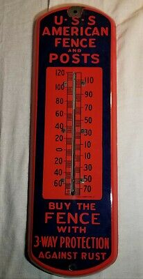 Rare Antique Uss American Fence And Posts Porcelain Thermometer Sign Coshocton,O