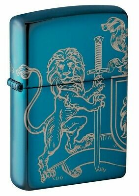 Zippo 49126 Medieval Coat of Arms Design High Polish Blue 2 Sided Lighter