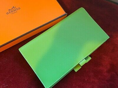 Authentic HERMES swift green leather agenda note address book cover