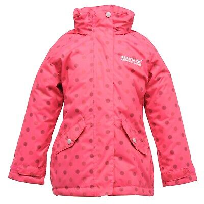 Regatta Peppie Girls Waterproof Padded Insulated Hooded Spotted Jacket Pink13-14