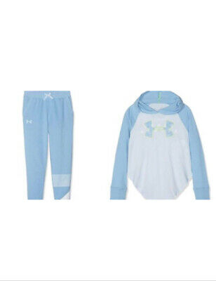 Girls NEW BNWT UNDER ARMOUR TRACKSUIT BLUE 8-9 s bottoms hoodie top set sports