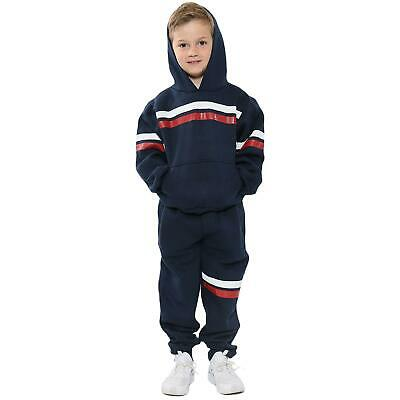 Kids Girls Boys Tracksuits Navy Fleece Hoodied Joggingsuit Top Bottom Sportswear