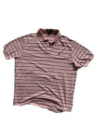 Mens Ralph Lauren Striped Polo Shirt Extra Large Xl Pink / White