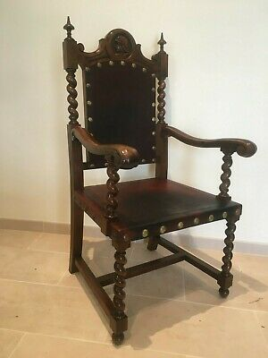 Spanish Revival Antique 19th Century Barley Twist Throne chair