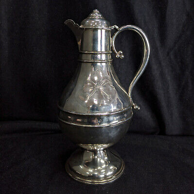 Early Victorian Antique Solid Silver Holy Wine Communion Flagon