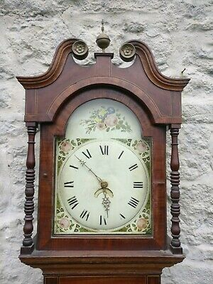19th C Longcase Grandfather Clock 30 hour Arched Painted dial Oak Case