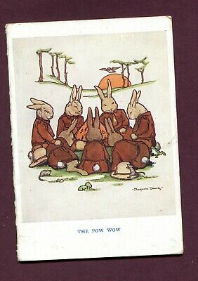 Vintage  Guides Brownies Christmas Card (1920's) M Dowey Rabbits