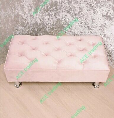 Large Ottoman Chesterfield Footstool/Coffee Table Baby Pink, Plush  Velvet