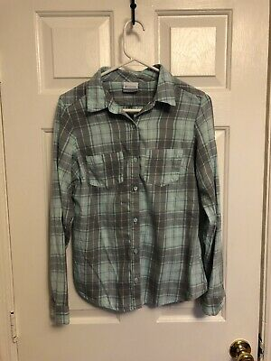 Columbia Womens Cotton Flannel Shirt Size Small Grey/ Mint Plaid