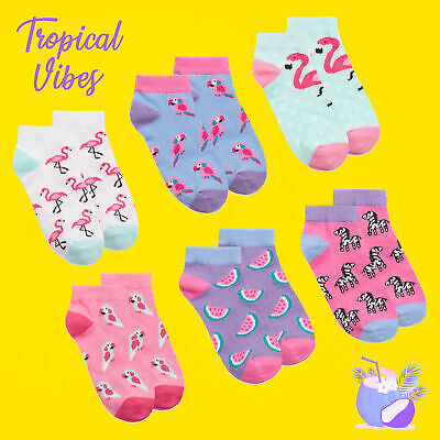 Girls Children 3 Pairs Ankle Socks Liners Flamingo Tropical Cotton Rich Novelty