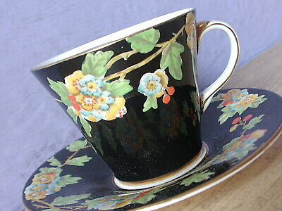 Antique 1930's Aynsley England Black bone china tea cup teacup and saucer