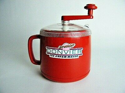 DONVIER Premier Ice Cream Maker 1-Pint in Original Box Red Made in Japan