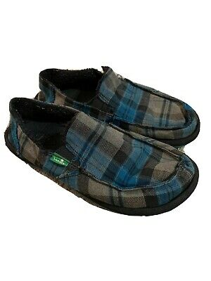 Boys Kids Sanuk Slip On Shoes Sz 2 Plaid Blue & Black Summer